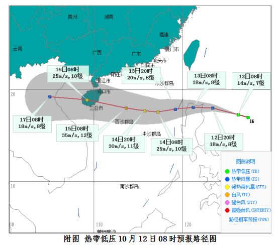 热带低压已生成!或加强为20号台风于15日前后在海南岛沿海登陆